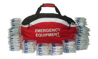 Standard Emergency Holdall with 200 Foil Blanket, elegant and effective storage; site safety, evacuation, health and safety | Foil Blankets, standard and bespoke Emergency Kits from EVAQ8.co.uk the UK's emergency preparedness specialist