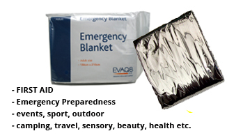 Foil Blankets first aid & prevention of shock and hypothermia | Foil Blankets, standard and bespoke Emergency Kits from EVAQ8.co.uk the UK's emergency preparedness specialist