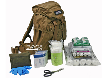 Mobile Response First Aid Medical Kit in Tan Backpack - tactical medical kit including foil blankets | Foil Blankets, standard and bespoke Emergency Kits from EVAQ8.co.uk the UK's emergency preparedness specialist